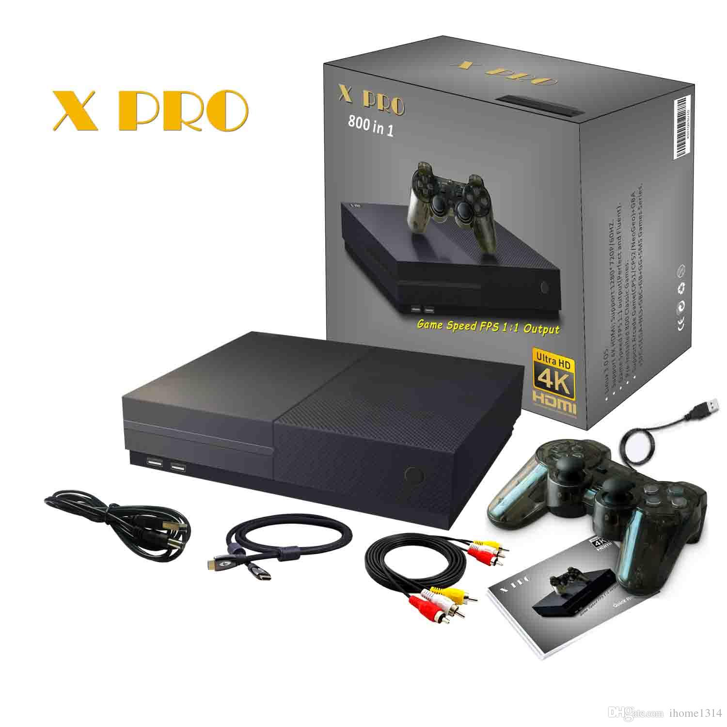 NEW 4K HDMI Xpro 800 in 1 support GBA,FC,GBC game console with all game  accessory in retail gift box DHL freeshipping
