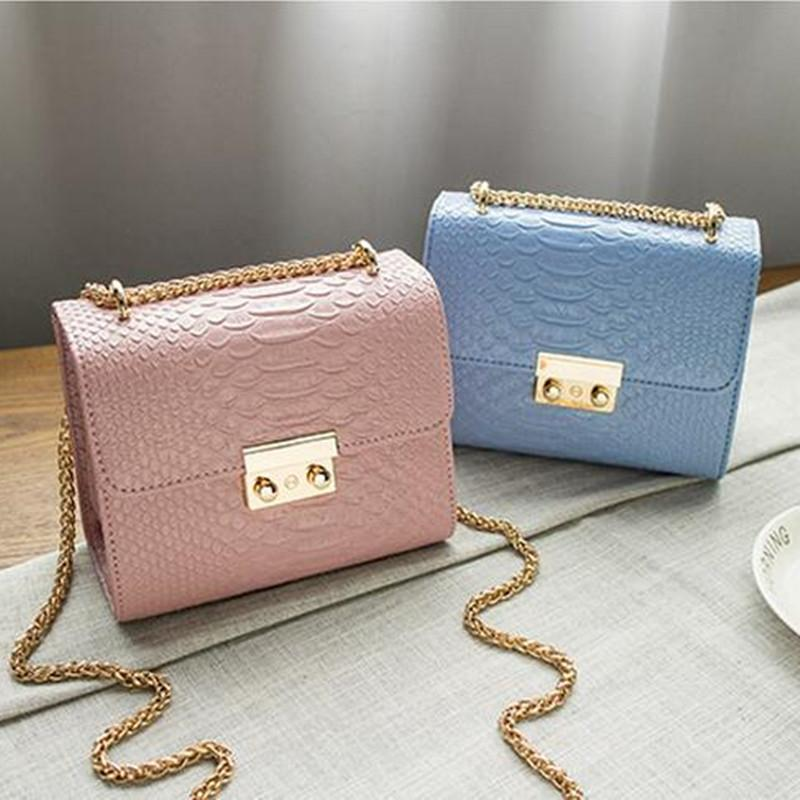 Cool Walker Alligator Crocodile Leather Mini Small Women Crossbody Bag Chain Women 'S Handbag Messenger Shoulder Bag With Pink