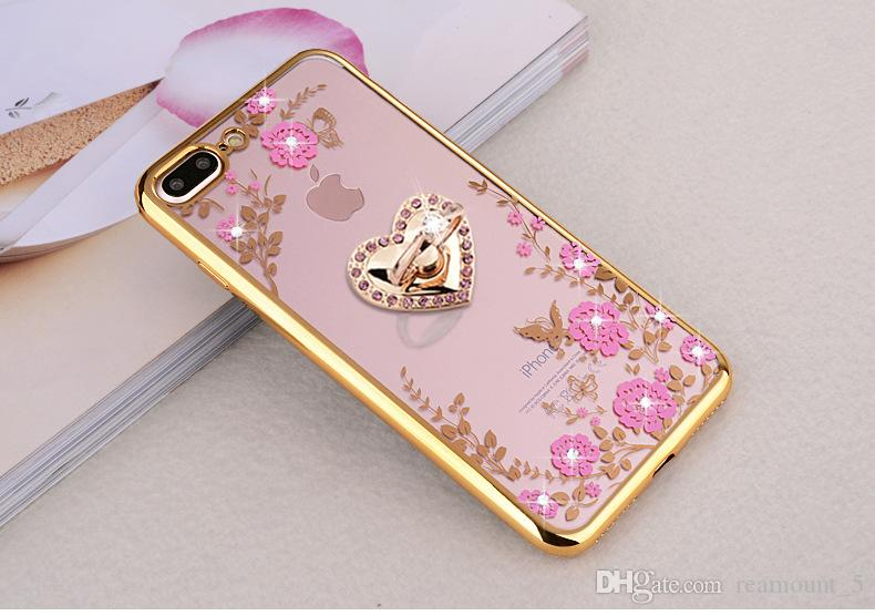 Lusso TPU placcatura diamante in gomma morbida fiori farfalla Secret Garden Back Cover Case per iPhone 8 Plus