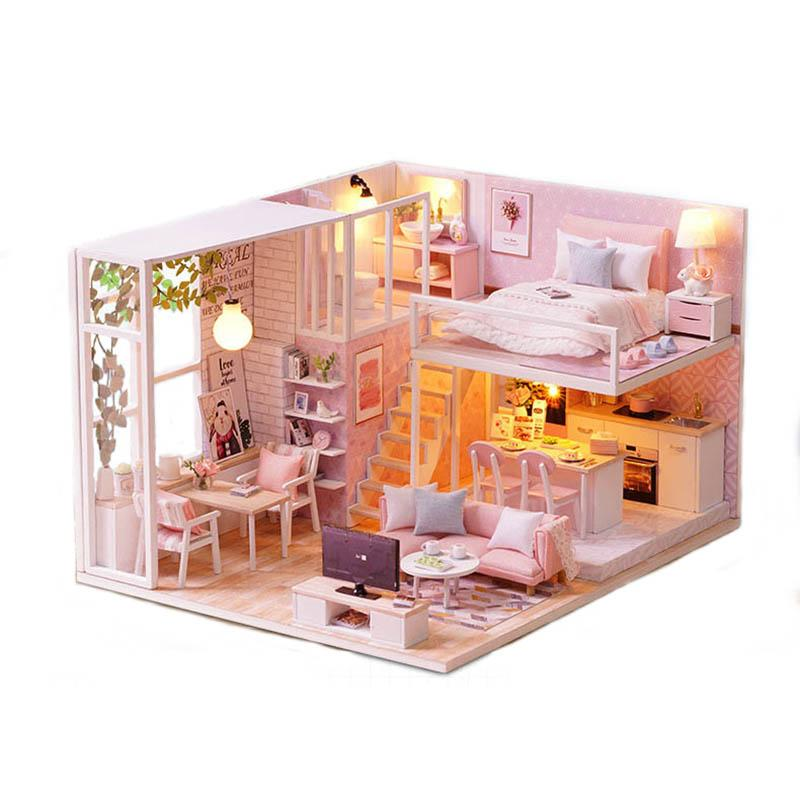 CUTE ROOM Miniature Wooden Doll House With DIY Furniture Toys for Kids Girls Handmade Blocks Gift Pink LOFT Life L022