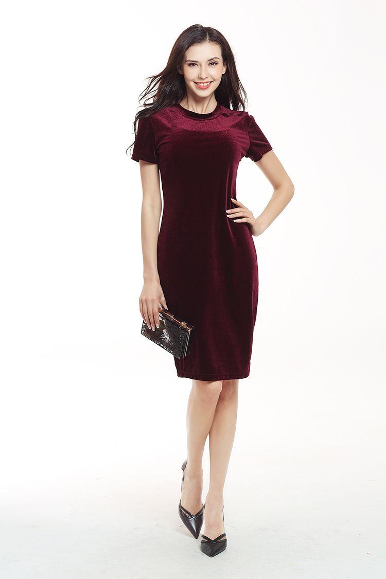 2017 European summer new Swan velvet dress round neck short sleeved waist slim dress fashion temperament pure color pencil skirt