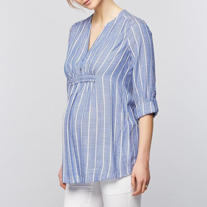 403f8d3fef0af 2019 Top Fashion Maternity Women Striped Print Shirts 3/4 Sleeve V Neck  Blouses Casual Loose Patcwork Pregnancy Tops Plus Size S 5XL From Namenew,  ...