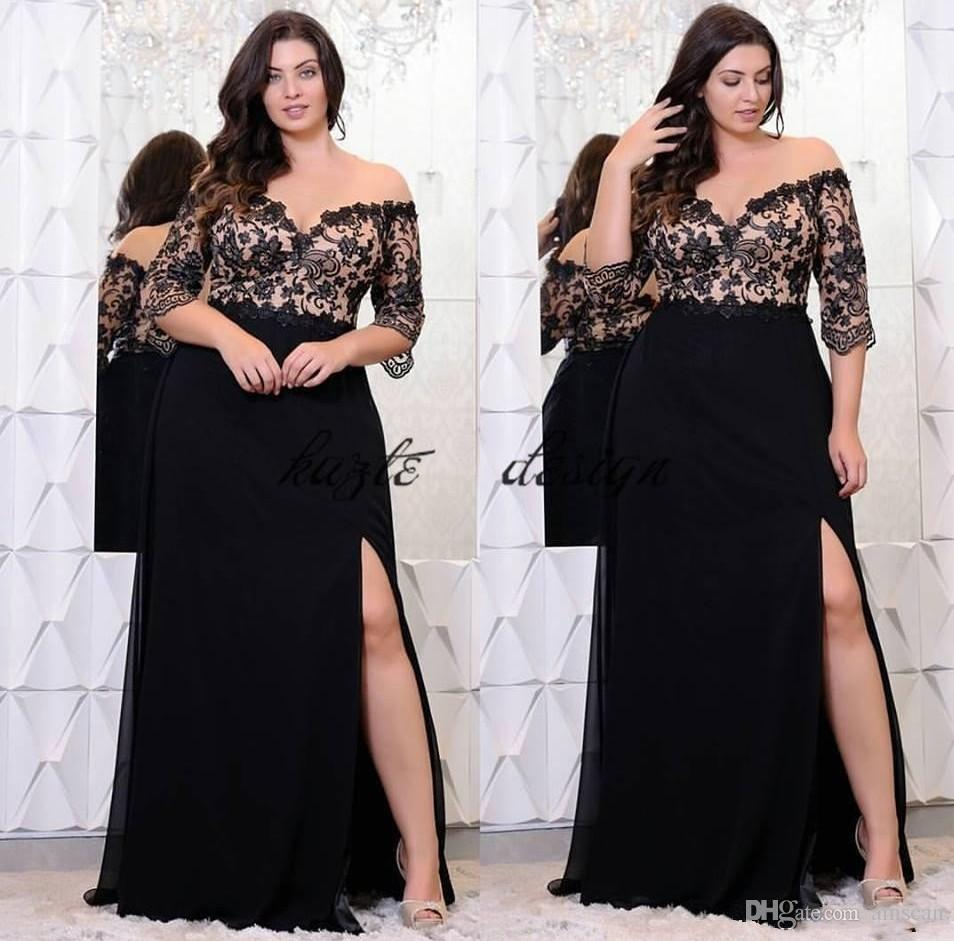 Plus Size Off Shoulder Black Prom Dress Lace Appliques Side Split Sexy Long  Party Gowns Half Sleeve Floor Length Chiffon Cheap Evening Dress Prom Dress  Hire ... b6bb51e8c646