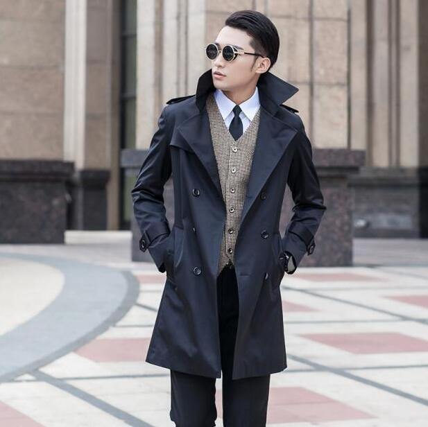 f5adc5cdf92 2019 Black Blue Beige Khaki Spring Autumn Slim Mens Trench Coat Men Fashion  Casual Double Breasted Youth Jacket Men Plus Size 9XL From Bida Amy