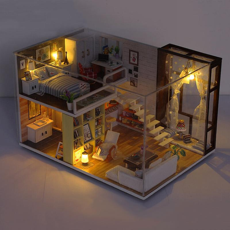2018 New Diy Wooden Doll House Toy Dollhouse Miniature Assemble Kit With  Led Furnitures Handcraft Miniature Dollhouse Simple C Small Wooden Doll  House ...