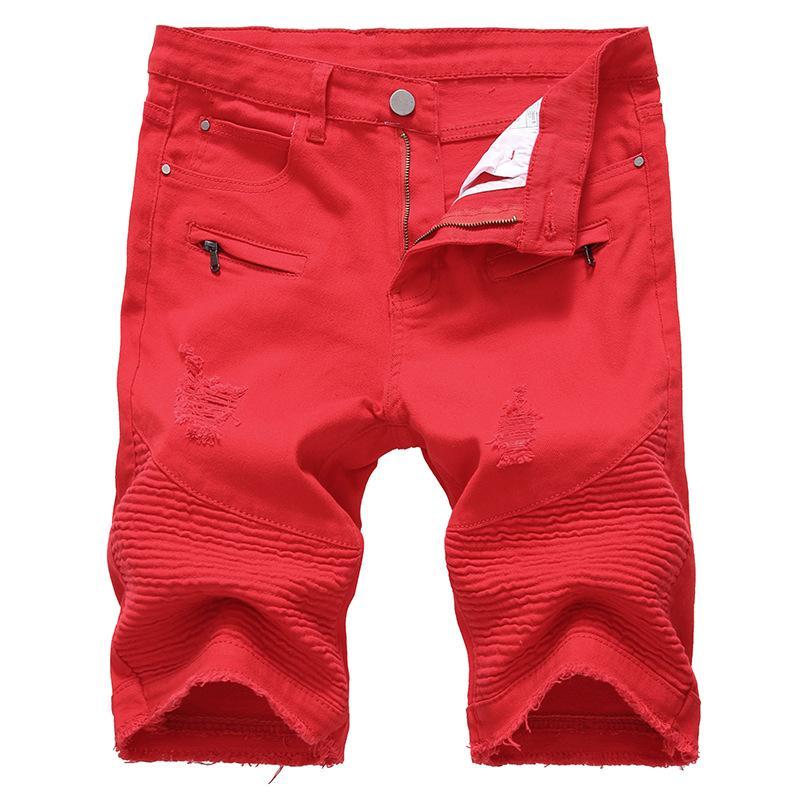 9ca1bda4deac 2019 Mens Denim Shorts Slim Large Size Casual Knee Length Short Hole Jeans  Shorts For Men Summer White Red Black From Johnbob1994, $20.87   DHgate.Com