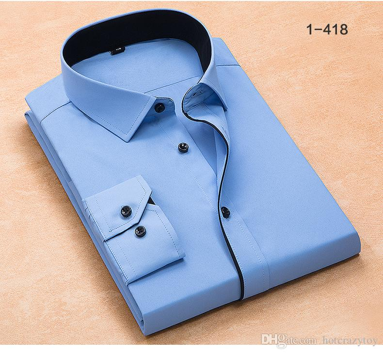 good Patchwork black button turn down collar long sleeve twill business formal dress shirts solid top