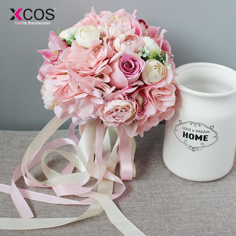Wholesale Pink Species Of Orchid Rose Wedding Flowers Bridal Bouquet