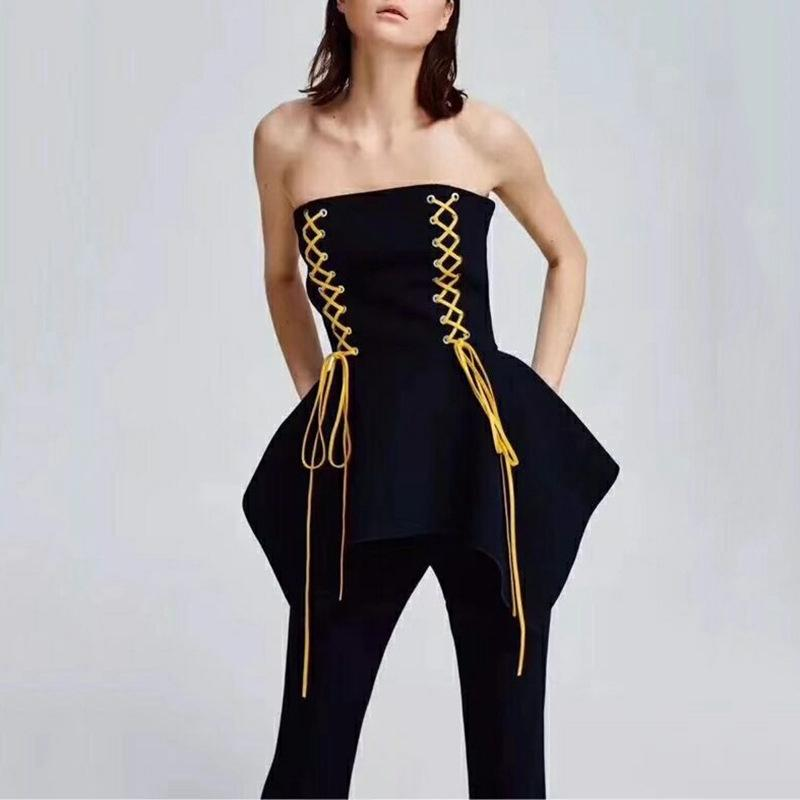 2019 Summer Style Tube Top Ruffles Peplum Blouse Women Black Lace Up Tops  Asymmetrical Designer Tee Effortless Resort Wear Sexy Shirt From Ceciliasa ecd9eb5a7