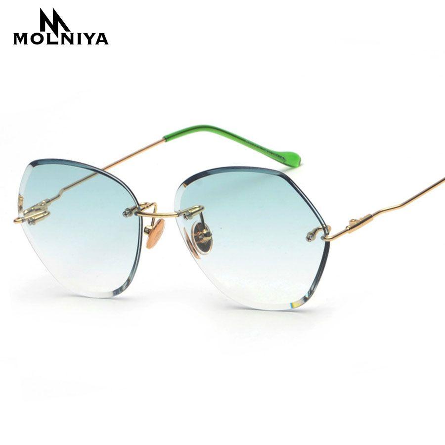 6492f903e0 Molniya 2018 Luxury Rimless Sunglasses Women Vintage New Brand Designer  Oversized Retro Female Sun Glasses For Lady Uv400 Cat Eye Sunglasses Round  ...