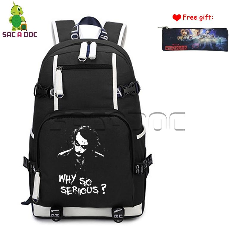 80e176576581 Why So Serious Dark Knight Joker Canvas Backpack Womens Mens Daily Computer Bags  Boys Girls School Travel Rucksack Case Gift Black Backpack Camera Backpack  ...