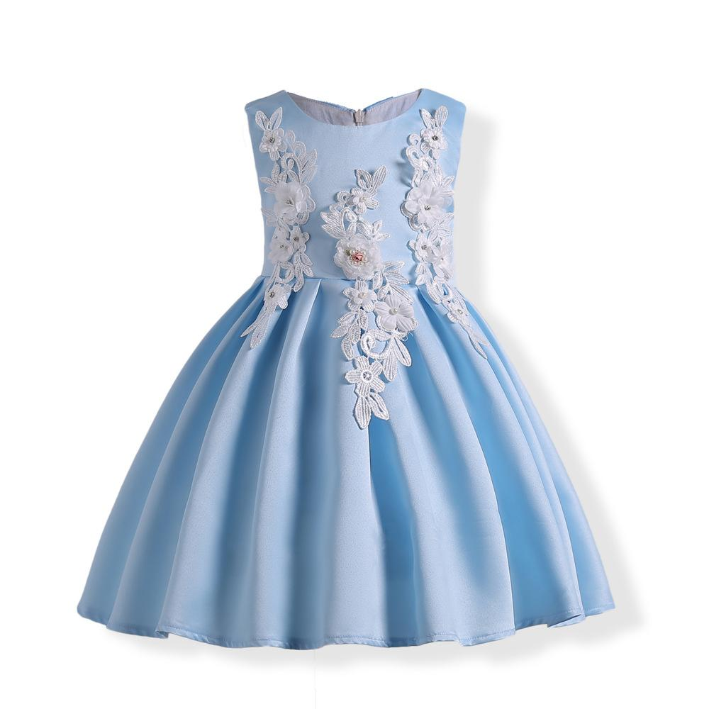 2018 Summer BLue Brief Girl Dress Flower Embroidery Girls Birthday ...
