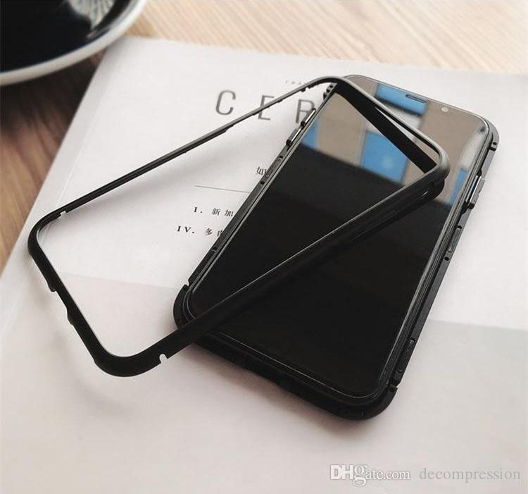 separation shoes f81d4 fab8d Magnet Absorption Aluminum Alloy Metal Frame Magneto Phone Cases For IPhone  X 7 8 Plus Anti-Scratch Tempered Glass Back Cover free DHL.