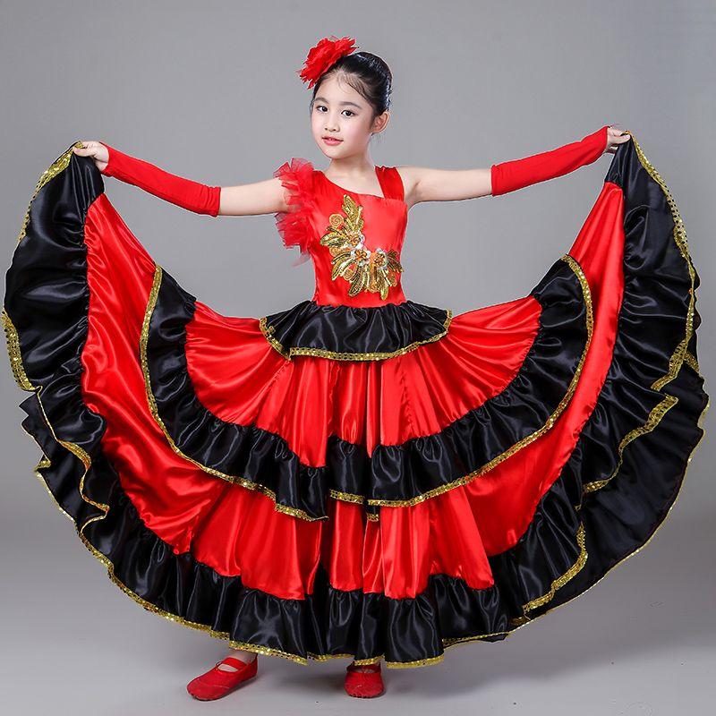 09984cae55705 Acheter Costume Espagnol Fille Longue Robe De Flamenco Rouge Robe De Bal  Pour Les Filles Enfant Robes De Danse Costumes Pour Enfants Vêtements  DL2890 De ...