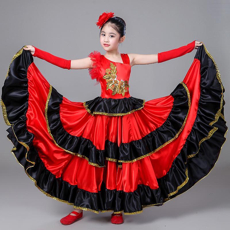 5983834d4 Traje de español para niña Vestido largo de flamenco rojo Falda de salón de  baile para niñas Vestidos de baile para niños Disfraces para niños ...