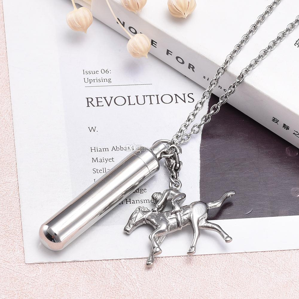 Hollow cylinder with horse shape cremation memorial jewelry for Ash Stainless Steel simple design