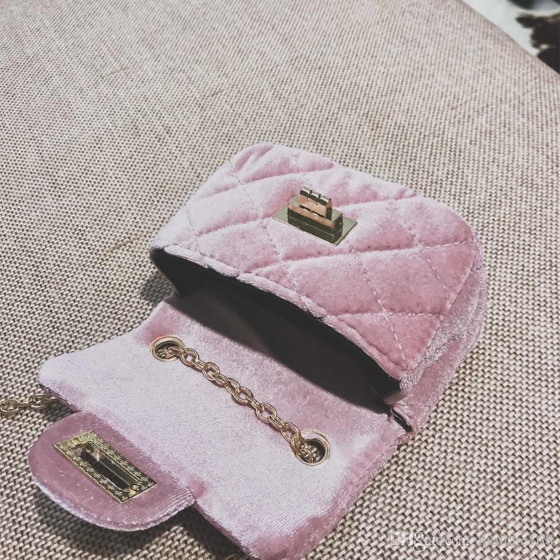 Moda infantil Mini Ombro Messenger Bag Cadeia Velvet Girls Princess