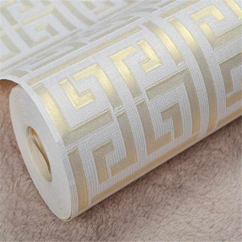 Acheter 3d Texture Paern Or Blanc Papier Peint Moderne Geometrique