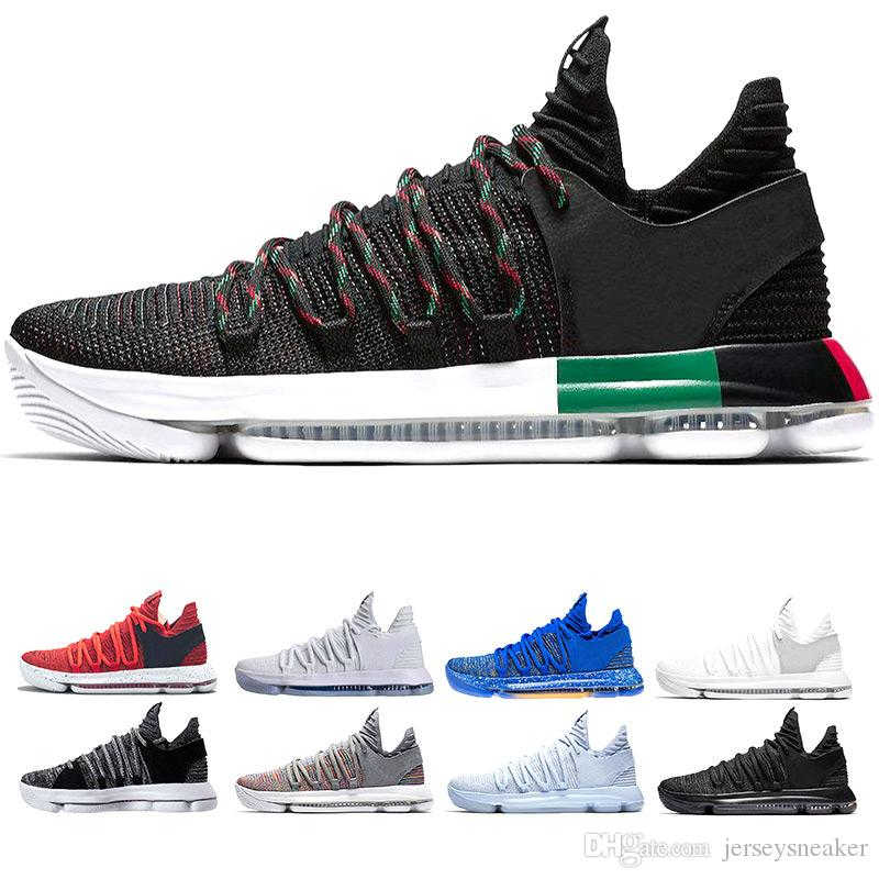 26394a3b6259 New Zoom KD 10 Anniversary PE BHM Oreo Triple Men Basketball Shoes KD 10  Elite Low Kevin Durant Athletic Sport Sneakers Size 7 12 Buy Shoes Online  Discount ...