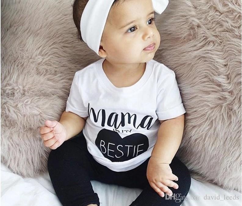 2018 Baby Jungen Weiß Letters Printed Kurzarm T-shirt + Schwarz Harem Pants 2 stücke Set Kinder Outfits Kinder Casual Anzug 70-80-90-100 cm