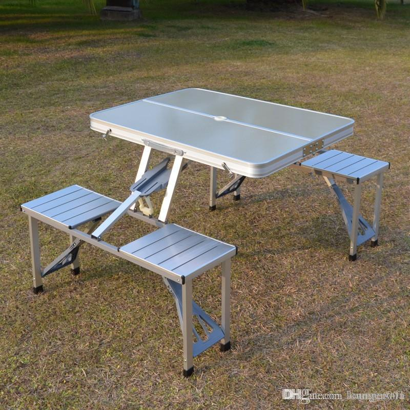 Folding Table Chair Set Sturdy Metal Aluminium Alloy Tables And Chairs Sets  Camping BBQ Outdoor Supplies