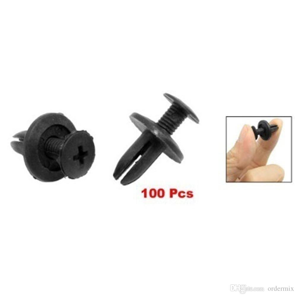 100PCS 6MM Black Car Bumper Interior Trim Door Panels Fender Screw Universal Clip Fastener Auto Spare Parts