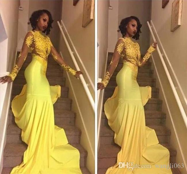 2018 Yellow Lace Appliqued African Prom Dress Mermaid Long Sleeve