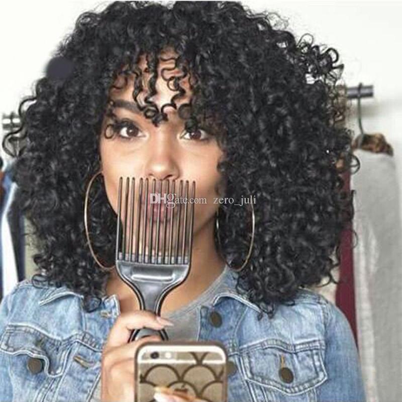 Kinky Kıvırcık Bangs ile Tam Dantel İnsan Peruk Siyah Kadın Hint Afro Kinky Kıvırcık Dantel Ön Bakire Saç Peruk Kısa Kıvırcık Peruk
