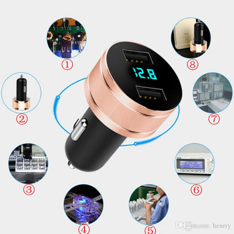2019 New Update Universal Car Charger 2 USB Ports Digital Display Shine Intelligent Car Mobile Phone Fast Charger Luminescence 100PCS