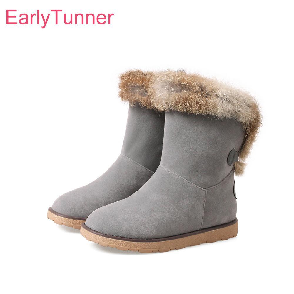 e765ac2c33d Brand New Hot Sale Winter Sexy Black Gray Women Snow Furry Boots Thick  Rabbit Fur Lady Shoes Low Heels EN88 Plus Big Size 10 43 Walking Boots  Ankle Boot ...