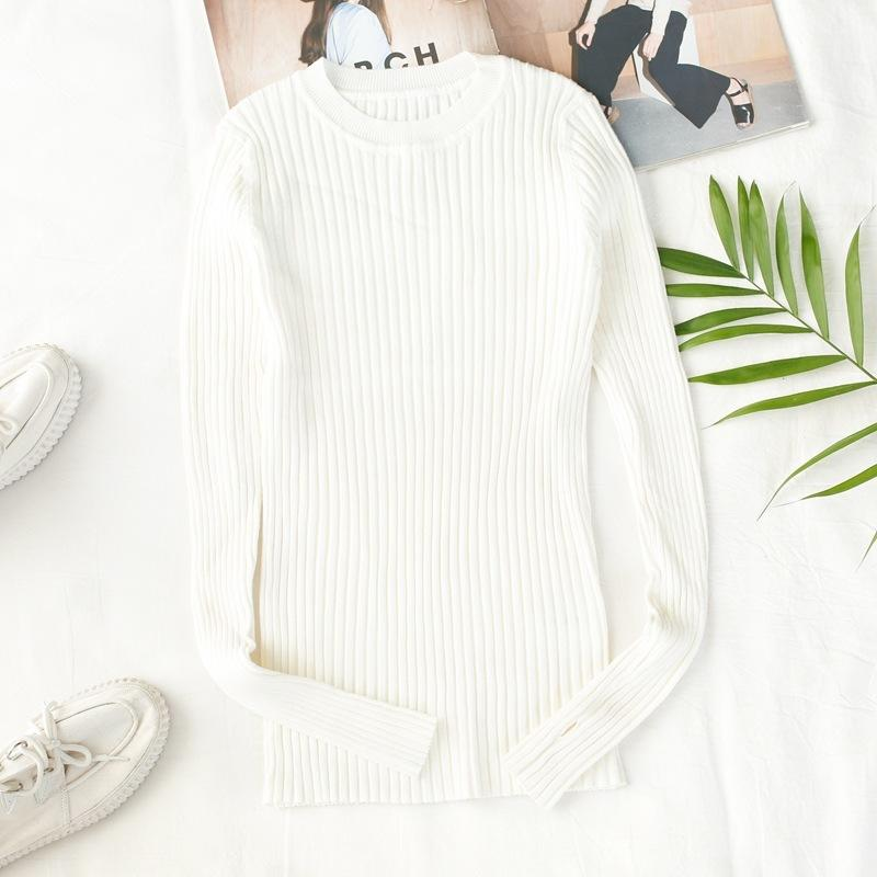 Long Sleeve Ribbed Tops White Crew Neck Solid Womens Ribbed Sweater With  Thumb Hole Korea Style Winter Clothes Knitted Pullover C18110801 UK 2019  From ... 997e7cd2c