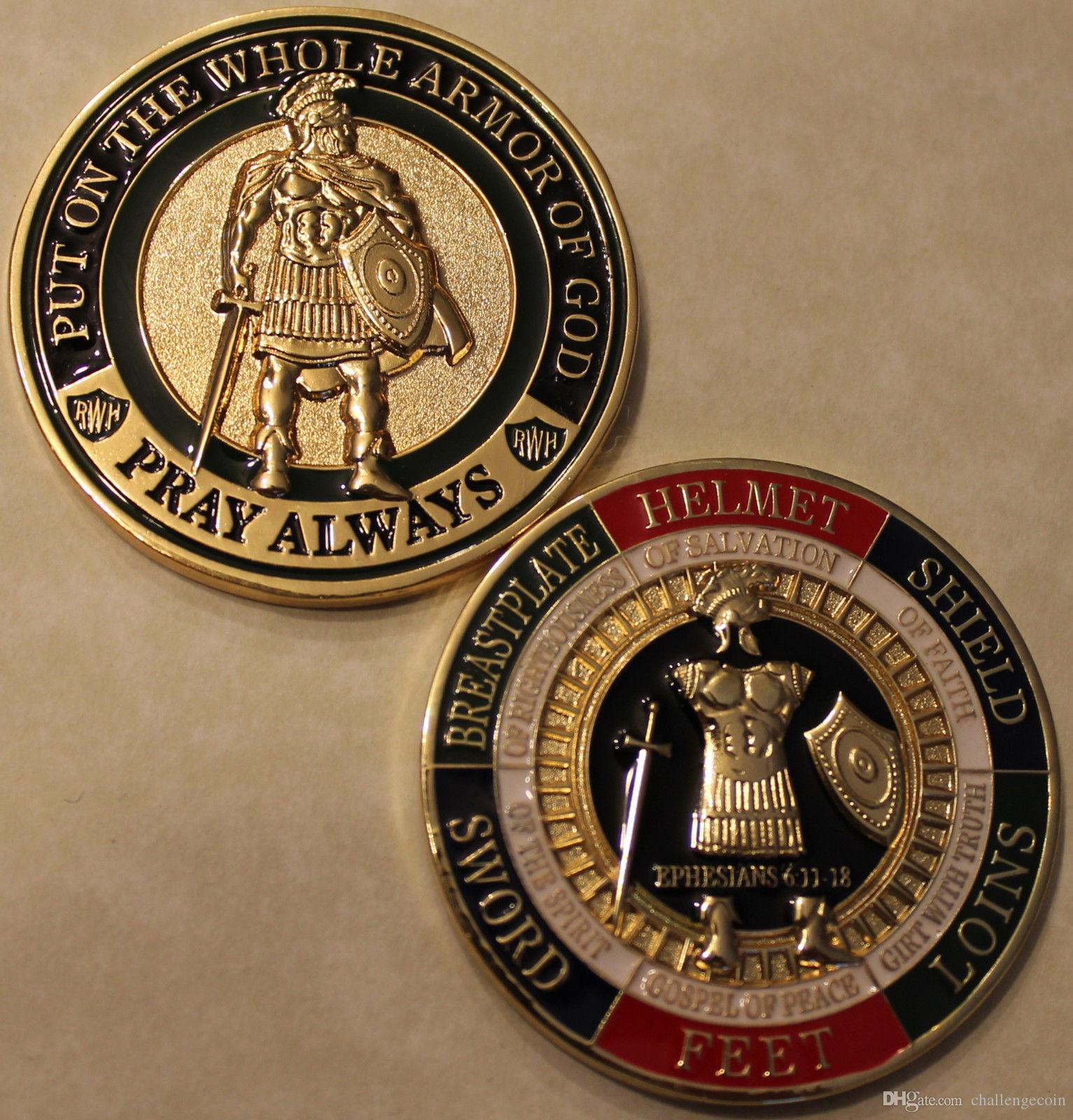 Free Shipping 20pcs/lot,Armor of God Pray Always Military Challenge Coin
