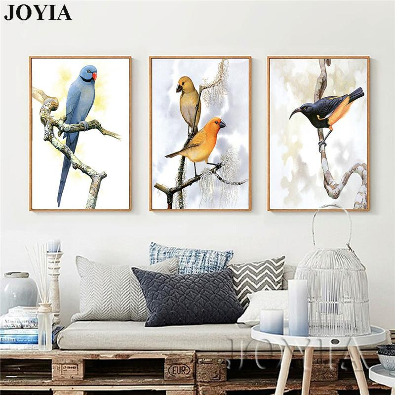 Bird Art Canvas Prints Vintage Home Decor Birds Wall Painting Retro Style Pastoral Pictures For Living Room Bedroom No Frame