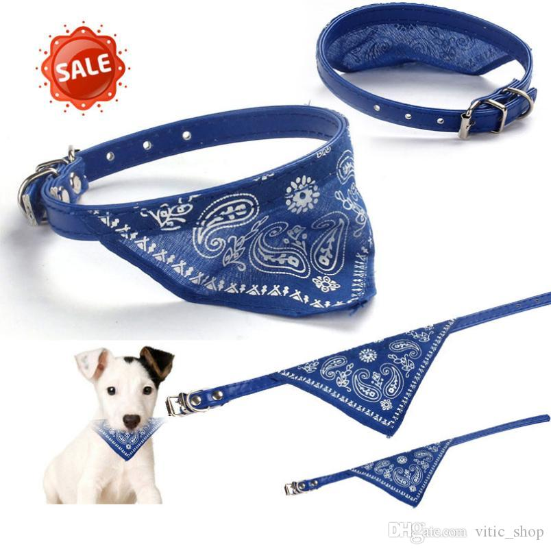 Cool Puppy Dog collar with triangle towel Pet necklace leather dog collar buckle Fashion pet accessories