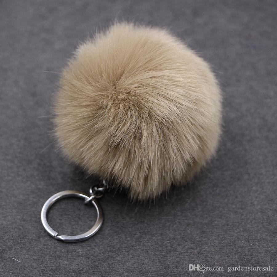 Fluffy Pompon Fur Ball Llavero Para Las Mujeres de Imitación de Piel de Conejo Pompom Llavero Abalorio Bolso Del Encanto Llavero Titular de Regalo de La Joyería