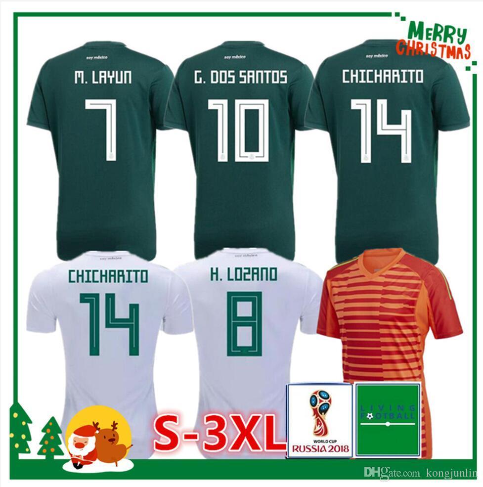 Compre 2018 Mexico Soccer Jersey Casa 17 18 Verde Longe Branco CHICHARITO  Camisetas De Futbol H.LOZANO G.DOS SANTOS A.GUARDADO Camisas De Futebol De  ... 1def4dcb69b0b