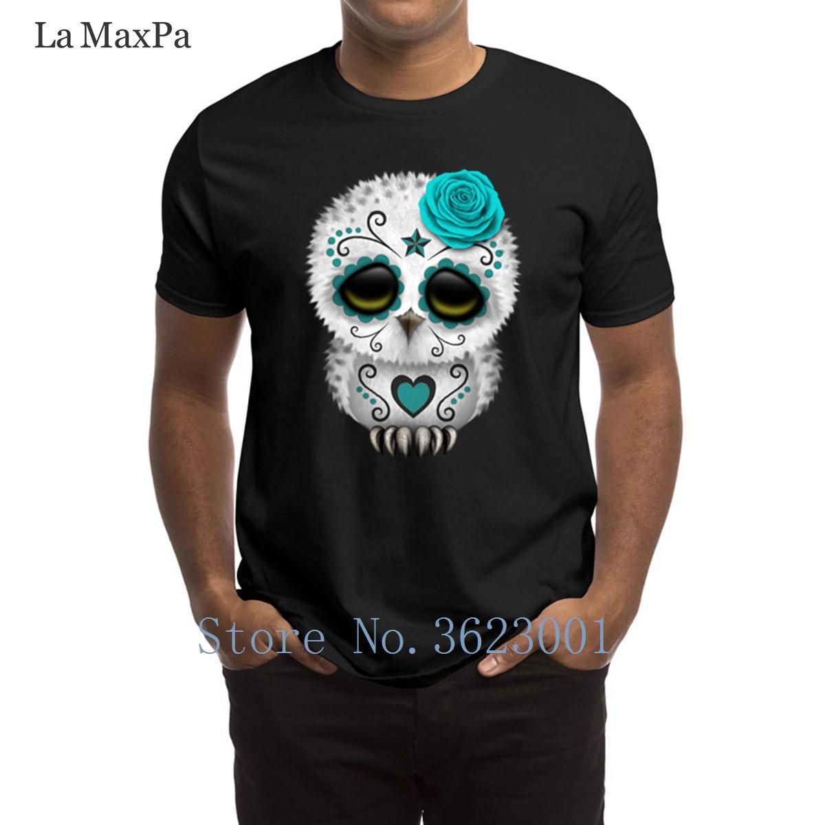Großhandel Druckform T Shirt Netter Blauer Tag Des Toten Zuckerschädel Eulen  T Shirts Für Männer Familien T Shirt 2018 Nettes Rundes Hals T Shirt Von ... 16b2c8d651