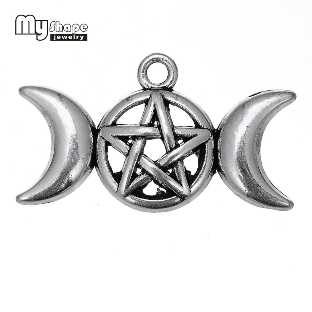 2018 my shape triple moon goddess pendant charms fit necklace 2018 my shape triple moon goddess pendant charms fit necklace bracelet pentagram pentacle protection antique star a from hiramee 2352 dhgate aloadofball Image collections