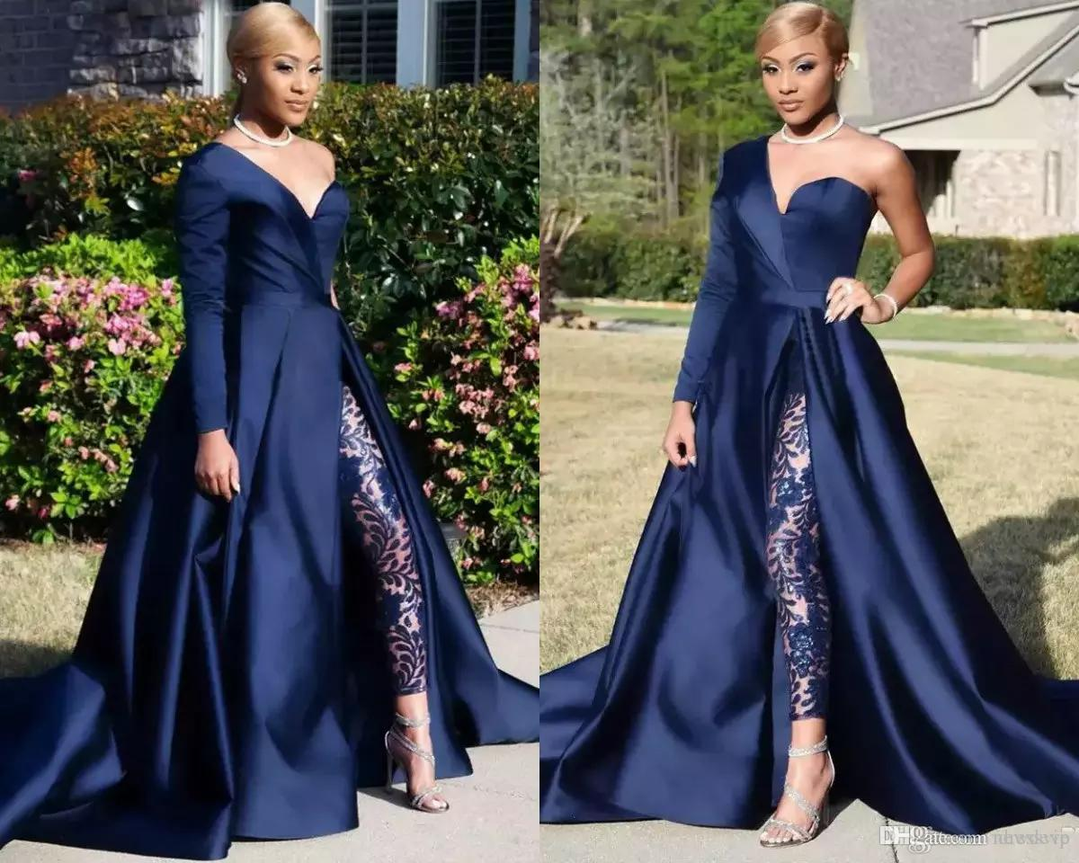 0f2ab38ee26 2018 Modest Blue Jumpsuits Prom Dresses With Detachable Skirt Two Pieces  Evening Dress One Shoulder Side Slit Pantsuit Celebrity Party Gowns Cheap  Modest ...