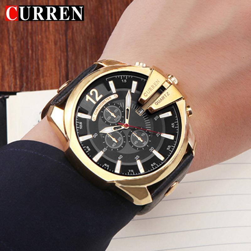 bd7523f7c18 Compre Curren Top Marca De Luxo De Quartzo Relógios Dos Homens Dos Esportes  De Quartzo Relógio Pulseira De Couro Relógio Masculino Moda Relógio De Ouro  De ...