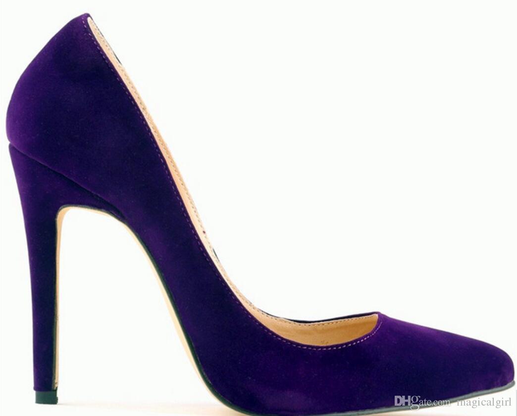Wholesale Shoe Women 2018 new Pointed Stiletto Women Shoe High Heels Suede size 8cm 10cm 12cm