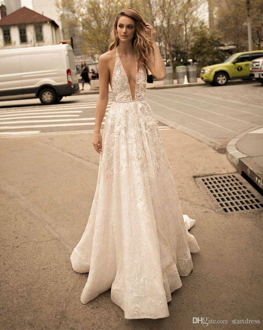 Beautiful A Line Illusion Berta Wedding Dresses Sexy Plugging 3D Floral Country Bohemian Bridal Gowns Cheap Backless Train robe de mariée