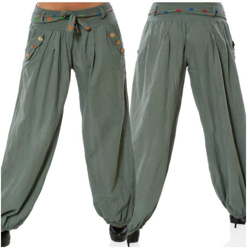 f370a379bd Compre Pantalones Harén De La Manera De Las Mujeres Del Verano Pantalones  Largos Sueltos Ocasionales Botón Retro Bolsillo De La Cintura Pantalones De  ...