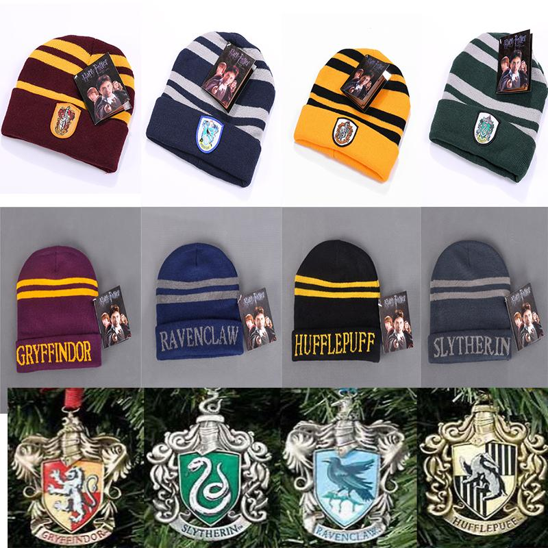 b4bacb731e6 Harry Potter Hogwarts Beanie Hat Gryffindor Slytherin Hufflepuff Ravenclaw  Cap Warm Wool Knit Hat Cosplay School Striped Badge Hats TC181026 Make  Birthday ...