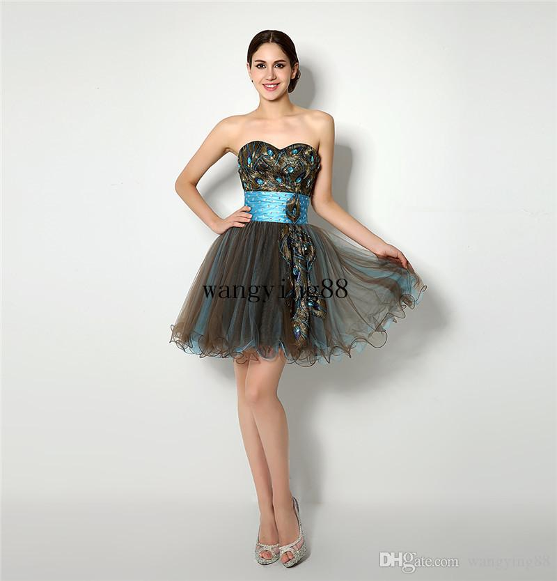 2018 Feather Crystals Organza Homecoming Dresses A-line Sweetheart Short Mini Elegant Black Cocktail Dresses