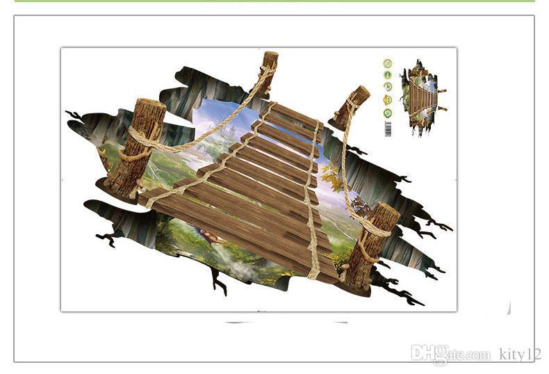 Оптовая 3D Пол Стены Стикеры Съемный Мост Росписи Наклейки Винил-Арт Гостиная Home Decor Бесплатная доставка