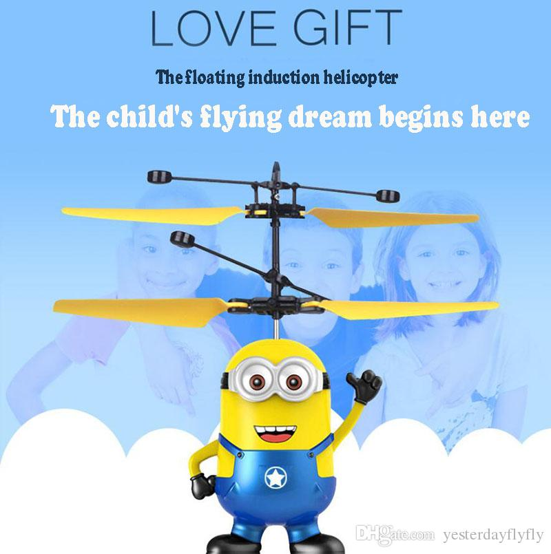 LED Light Induction Flying Aircraft Toys RC Helicopter Despicable Me Minion Helicopter Quadcopter Drone Original Package