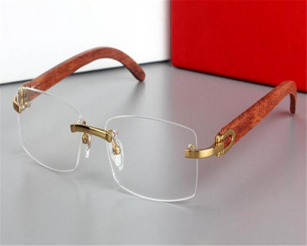 bc0706e2d65 DOWER ME Business Men Fashion Rimless Wooden Temple Gold for Myopia ...