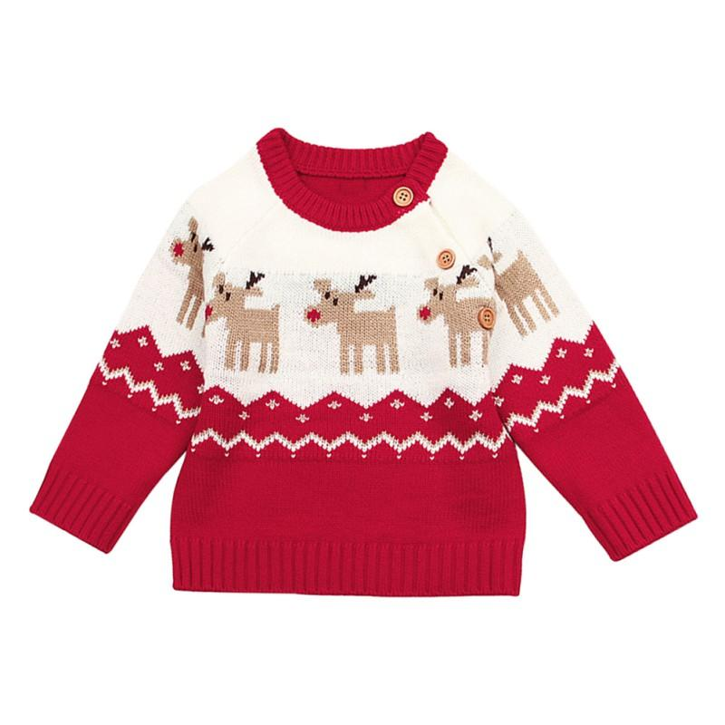8f5b999eaf0e Winter Warm Baby Sweater Infant Boy Girl Christmas Elk Pullover Long ...