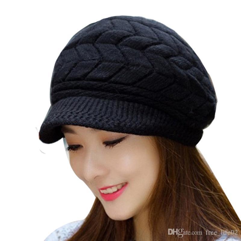 4f759c4a8 2019 Wholesale Winter Beanies Knit Women Hat Winter Hats For Women Ladies  Beanie Girls Skullies Caps Bonnet Femme Snapback Wool Warm Hat 2018 From ...